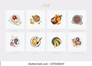 Elegant colorful fruits icon collection in flat lay setting