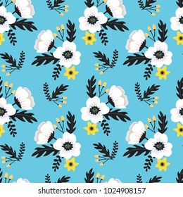 Elegant colorful seamless floral pattern with white and yellow flowers on blue background. Ditsy print. Vector illustration