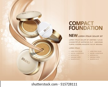 Elegant compact foundation ads, 3d illustration foundation product with its texture flowing through it