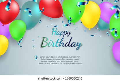 Elegant concept happy birthday vector background with silver confetti decoration. Luxury style vector design template can use greeting card, post card, celebration poster, invitation, holiday party