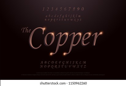 Elegant Copper Colored Metal Chrome alphabet font. Copper typography classic style serif font set. vector illustration