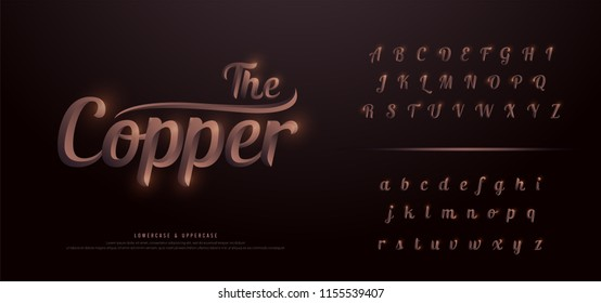 Elegant Copper Colored Metal Chrome alphabet font. Copper typography classic style italic font set. vector illustration