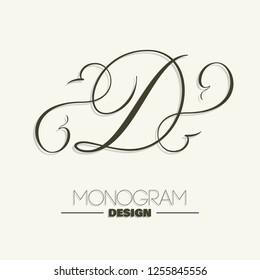 Elegant copperplate style letter D monogram