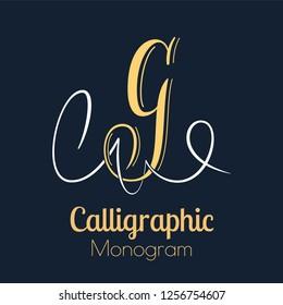 Elegant copperplate style letter G monogram
