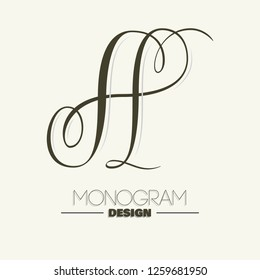 Elegant copperplate style letter A monogram