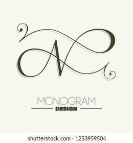 Elegant copperplate style letter N monogram