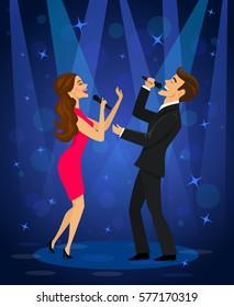 Elegant couple singing karaoke on stage in club under spot light
