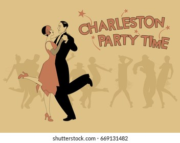 Elegant couple wearing 20's style clothes dancing charleston. Group of dancers in the background. Aged style poster.