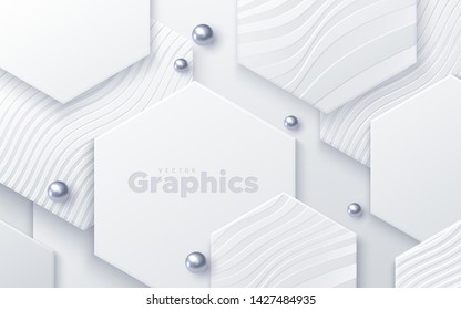 Elegant cover design. Minimal composition with geometric shapes. Vector 3d illustration. White hexagons textured with wavy patterns and silver beads. Abstract background. Layered paper decoration
