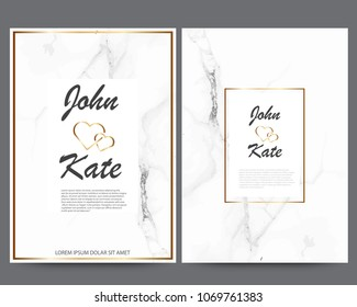 Elegant creative business cards with Marble texture and gold. design for cover, banner, invitation, wedding, card Branding and identity Vector illustration.