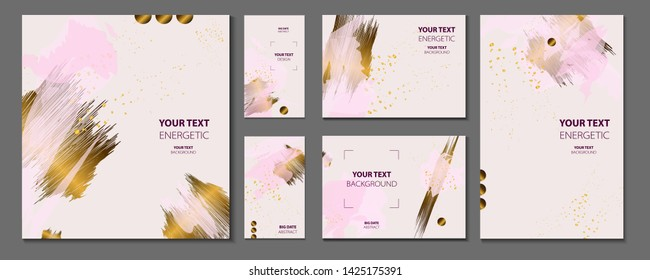 Elegant creative card templates set. Collection of romantic invitations with gold abstraction background line color