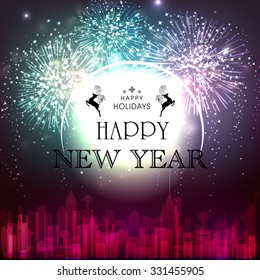 Elegant creative greeting card design with fireworks on urban city background for Happy New Year and Happy Holidays celebration.