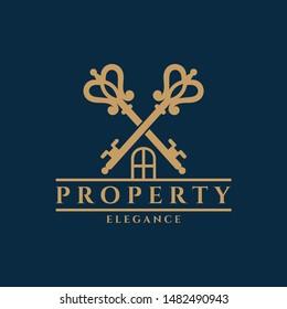 elegant crossed key for real estate logo, flat vintage style, luxury property icon, house marketing symbol