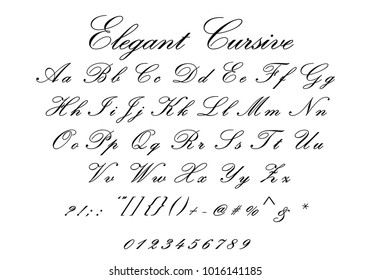 Elegant Cursive Font Letters Numbers And Symbols Full