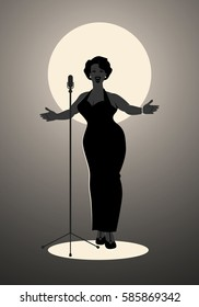 Elegant, curvy and sexy Jazz singer woman singing a melody