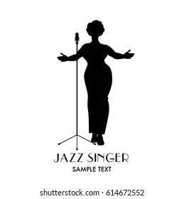 Elegant, curvy and sexy Jazz singer woman silhouette singing a melody
