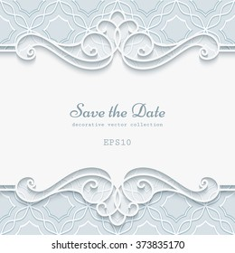 Elegant cutout paper lace frame, divider, header, vector save the date card or invitation template, eps10