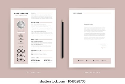 Elegant CV / resume and cover letter template - dusty rose pink color background vector