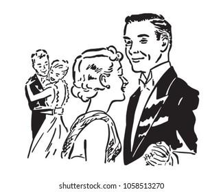 Elegant Dance Couples - Retro Clip Art Illustration