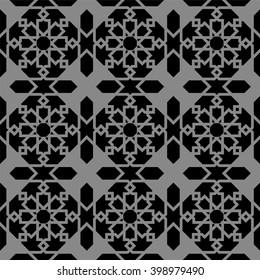 elegant dark antique background image of islam star geometry frame