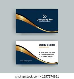 Elegant Dark Blue And Gold Business Card