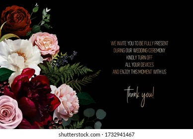 Elegant dark frame, arranged leaves and flowers. Dusty pink garden rose, white and burgundy red peony, ranunculus, berry, fern vector design. Masterpiece style. Autumn card. Isolated and editable