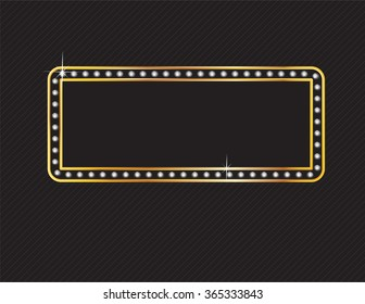 Elegant deco style frame with rounded corners, made from glowing diamonds set in a two-layer gold channel setting, isolated on black background. Vector EPS-10 file, transparency used.