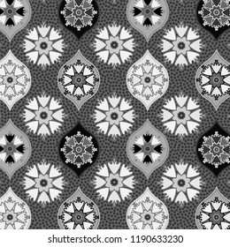 elegant decorated and textured ogee and floral pattern in grey scale. for textile, fabric, backgrounds, backdrops and creative surface designs. pattern swatch at eps. file