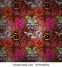 Elegant decorative ornament for fashion print, scrapbook, wrapping paper, wallpaper. Pictures on a black, orange, magenta, white and yellow colors Vector illustration.