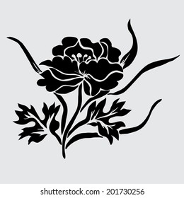 Elegant decorative peony flower, design element. Floral branch. Floral decoration for vintage wedding invitations, greeting cards, banners.
