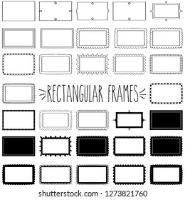 Elegant decorative rectangle shape blank frames black and white outline and silhouette, Single line wavy zigzag scallop border stickers, Classic clear greeting tag, Double, triple and dotted  labels