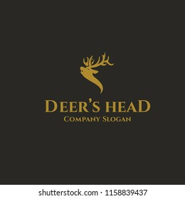 Elegant deer head logo template for your company. Come with gold color for luxury branding.