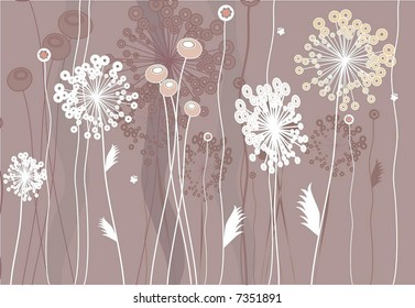 Elegant design with flowers and grass