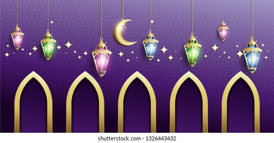 Elegant Design of Ramadan Kareem Background with Hanging Fanoos Lantern, Crescent & Mosque Gate in Gold & Purple Gradation Color