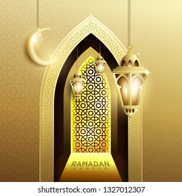Elegant Design of Ramadan Kareem with Fanoos Lantern, Crescent & Mosque Gate Background in Gold Color