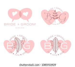 Elegant design templates for wedding card. Wedding logo for business sign, monogram identity for restaurant, boutique, cafe, hotel. Vector illustration isolated on white background.