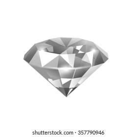 Elegant Diamond Illustration Isolated on White