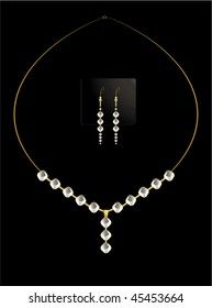 Elegant diamond necklace set - vector version