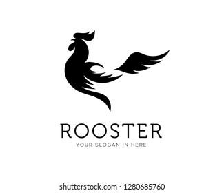 elegant drawing art rooster, chicken body logo design inspiration