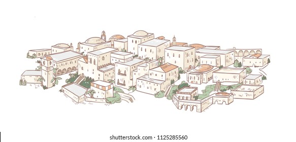 Elegant drawing of old city with beautiful buildings of Arab architecture. Panoramic view of streets of Medina, Baghdad or Marrakesh. Urban landscape. Colorful hand drawn vector illustration.