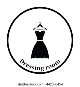 black cocktail dress vector flat icon stock vector royalty free Mourning Love elegant dress on shoulders icon thin circle design vector illustration