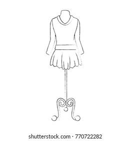 elegant dress for woman in manikin