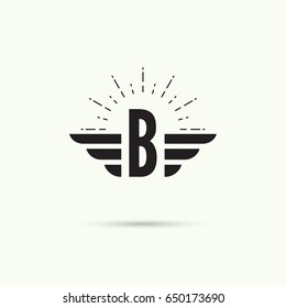 Elegant dynamic alphabet letters with wings. Letter b