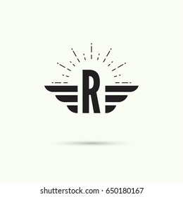 Elegant dynamic alphabet letters with wings. Letter r
