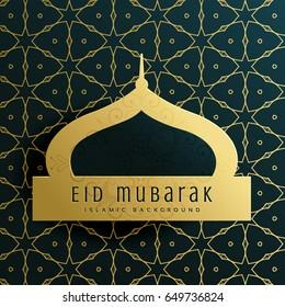 elegant eid mubarak greeting card design with islamic pattern