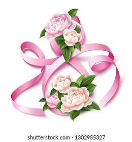 Elegant eight number 8 with peony flowers for international women day, 8 of march holiday. Silk ribbon sign for spring female holiday greeting card, invitation or promotion. Vector illustration