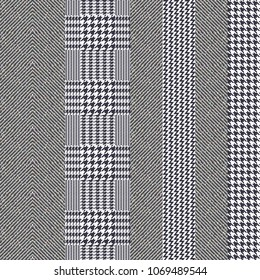 Elegant English stripped tweed texture. Seamless chevron and hounds tooth pattern for fabric design. Grey palette, small scale.