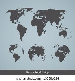 Elegant EPS10 vector World Map Variations