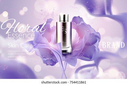 Elegant essence ads, cosmetic container with silky purple chiffon isolated on glittering bokeh background in 3d illustration, graceful atmosphere
