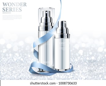 Elegant essence ads, cosmetic silver and white spray bottle isolated on glittering sequins background in 3d illustration